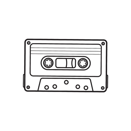 Old fashioned, retro audio cassette from 90s, sketch vector illustration isolated on white background. Front view of hand drawn audio cassette, tape with empty label sticker, retro object from 90s Reklamní fotografie - 79740040