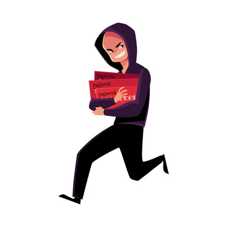 Hacker in black disguise running away, credit card fraud, theft concept, cartoon vector illustration isolated on white background. Illustration of credit card fraud, theft with hacker running away Иллюстрация