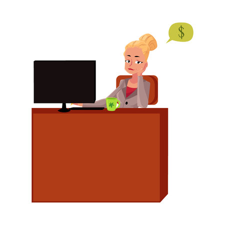 Young blond businesswoman, secretary, sitting at office desk, thinking about money, cartoon vector illustration isolated on white background. Businesswoman, secretary, office manager thinking of money
