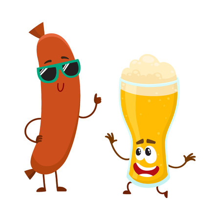Funny beer glass and frankfurter sausage characters having fun together, cartoon vector illustration isolated on white background. Funny smiling beer glass character and sausage poiting to it Illustration