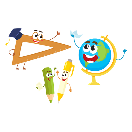 Cute, funny smiling pen, pencil, ruler, globe characters, back to school concept, cartoon vector illustration isolated on white background. Happy school characters, mascots - ruler, pen, pencil, globe