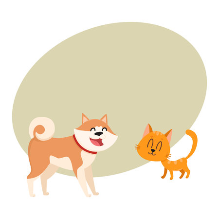 akita: Akita inu dog and red cat, kitten characters, love, friendship concept, cartoon vector illustration with space for text. Lovely akita dog and red cat characters, love, friendship, tenderness