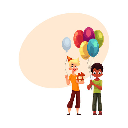 Black little boy with balloons, Caucasian teenager holding birthday gift, cartoon vector illustration with space for text. Two boys, kids at birthday party, holding balloons and gifts Illustration
