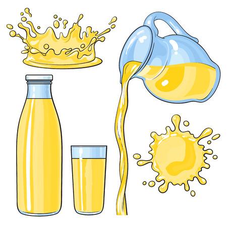 Splashing and pouring yellow lemon juice in bottle, glass, jug, sketch vector illustration isolated on white background. Hand drawn glass, bottle with yellow lemon juice and juice pouring from jug Illustration