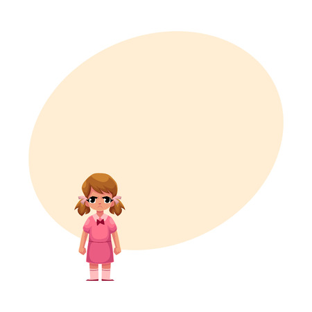 Little girl in pink dress standing with frowned, angry face expression, cartoon vector illustration with space for text.