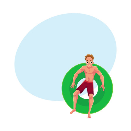 boy swim: Young Caucasian man on floating inflatable ring resting in star position, top view cartoon vector illustration with space for text. Illustration