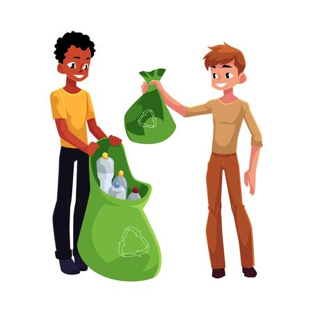 Two men collecting plastic bottles. Illustration