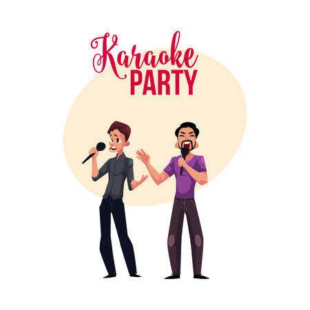 Karaoke party, contest banner, poster, postcard design with two men singing together, in duet, cartoon vector illustration on white background. Karaoke party banner with two men singing Illustration