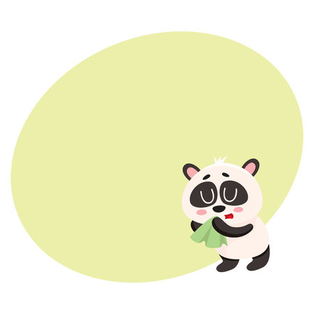 Sick baby panda having cold, flu, blowing nose into handkerchief, facial tissue, cartoon vector illustration with space for text. Sick little panda having flue, cold, holding handkerchief