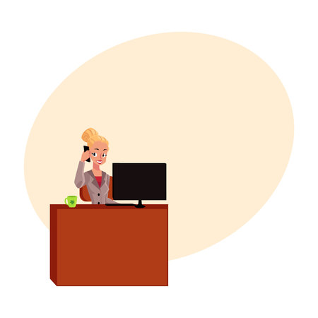 Young pretty blond businesswoman, secretary answering phone, calling at office table, cartoon vector illustration with space for text. Businesswoman, secretary, office manager answering phone Illustration