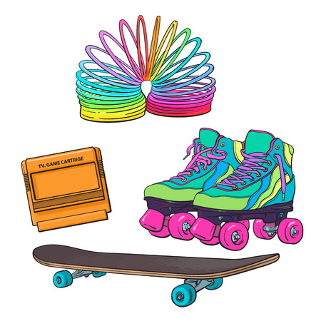 Set of retro pop culture items from 90s - skates, skateboard, TV game cartridge, spring, sketch illustration isolated on white background. Hand drawn set of 90s, retro items