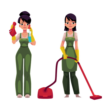 Two cleaning service girls in overalls.