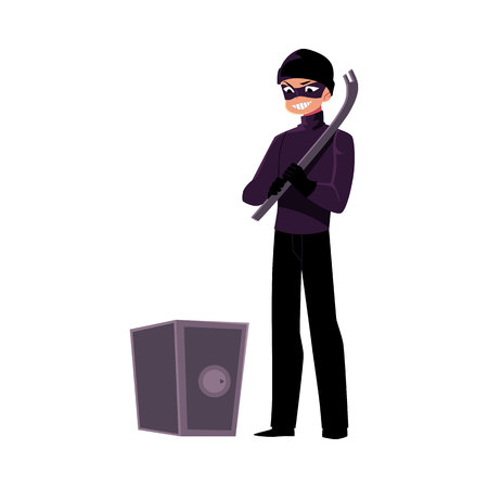 Thief, burglar going to force open safe box with tire lever, cartoon vector illustration isolated on white background. Burglar, robber, thief in black mask with tire lever tool going to open a safe