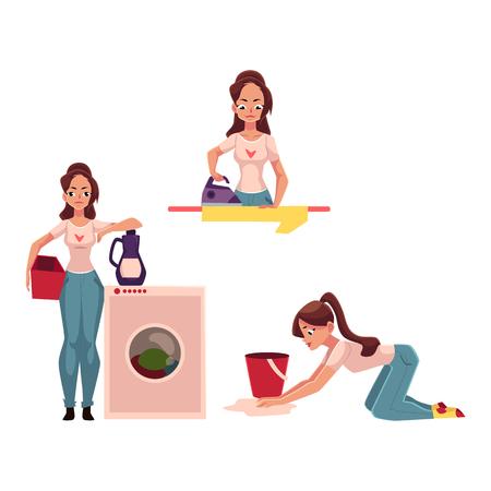 若い女性、主婦の家事 - アイロン、洗濯、クリーニング、真空は、白い背景で隔離のベクトル図を漫画の床を拭くこと。女性、女の子、彼女の家の