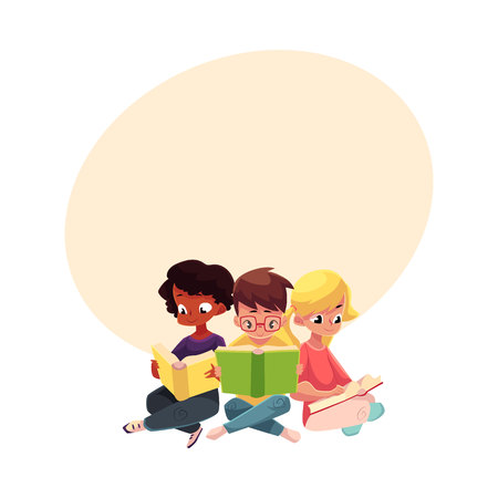 Three children, boys and girls, reading interesting book sitting with crossed legs, cartoon vector illustration with space for text. Kids, boys and girls, Caucasian and black, reading books
