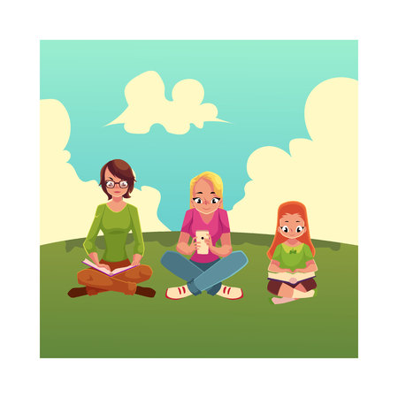 Set of girls reading books and using mobile phone on the grass, cartoon vector illustration isolated on white background. Little, adult girls reading books and using smartphone, mobile phone sitting Illustration