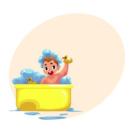 Piccolo bambino sveglio del bambino, infante, bambino che cattura il bagno della schiuma con le anatre di gomma, illustrazione di vettore del fumetto con spazio per testo. Piccolo bambino caucasico, bambino, bambino prendendo il bagno di schiuma, l'igiene quotidiana Archivio Fotografico - 79885577