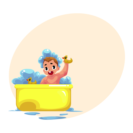 Cute little baby kid, infant, child taking foam bath with rubber ducks, cartoon vector illustration with space for text. Little caucasian kid, baby, infant taking foam bath, daily hygiene Illustration