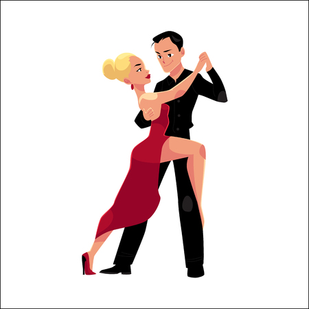 Couples of professional ballroom dancers dancing tango, looking at each other, cartoon vector illustration isolated on white background. Ballroom dance couple dancing tango, woman in red, man in black