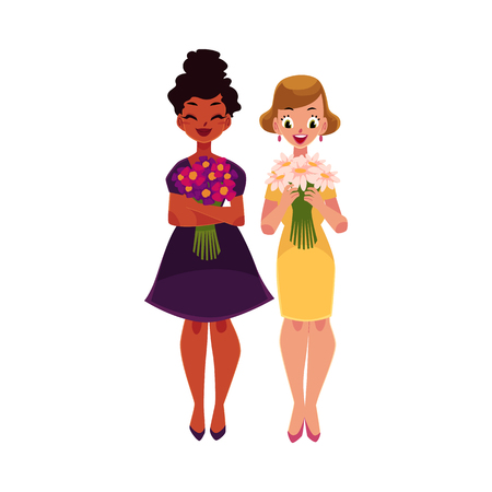 Two women, girls, black and Caucasian, holding bunches of flowers, cartoon vector illustration isolated on white background. Full length portrait of happy black and white girls, women with flowers