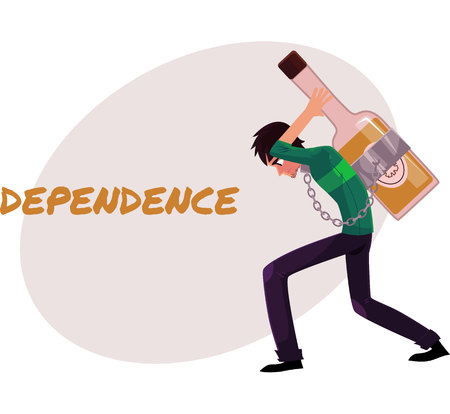 Financial dependence poster, banner template with man chained to huge bottle of liquor, carrying it on his back, alcohol dependence concept, cartoon vector illustrations isolated on white background. Çizim