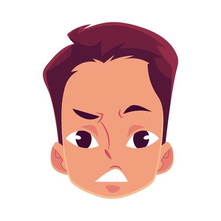 動揺して、若い男の顔には、表情、白い背景で隔離の漫画ベクトル イラストが混乱しています。ハンサムな男の子動揺感、心配、混乱して挫折。