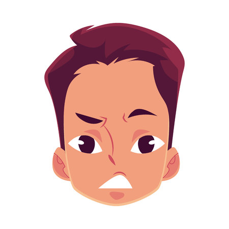 Young man face, upset, confused facial expression, cartoon vector illustrations isolated on white background. Handsome boy feeling upset, concerned, confused frustrated.
