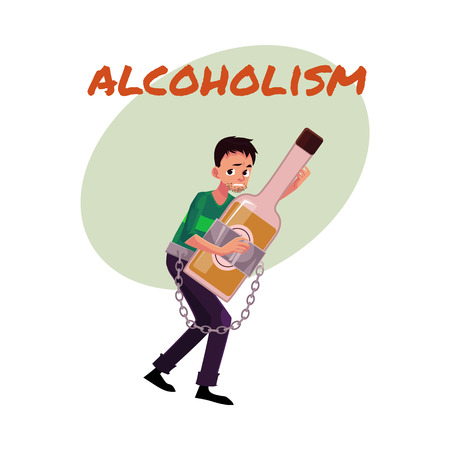 Alcohol dependence poster, banner template with man holding bottle of liquor, chained to it, alcohol dependence, abuse, disorder, cartoon vector illustration isolated on white background. Illustration