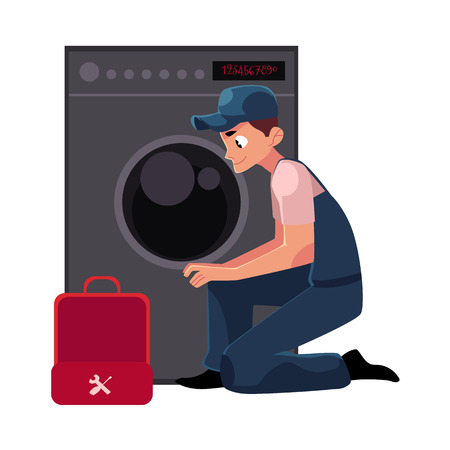 Plumbing specialist with toolbox fixing, repairing washer, washing machine, cartoon vector illustration isolated on white background.