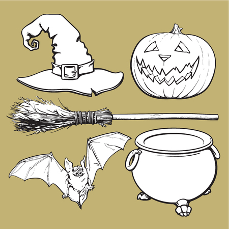 Witch accessories - pointed hat, caldron, jack o lantern, broom, bat, Halloween decoration elements, sketch vector illustration isolated on background.