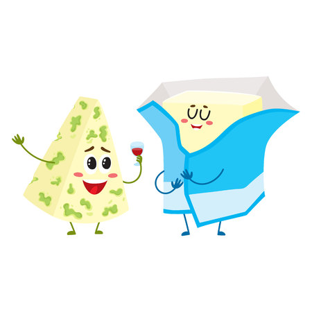 Cute blue cheese and cream butter characters, dairy mascots