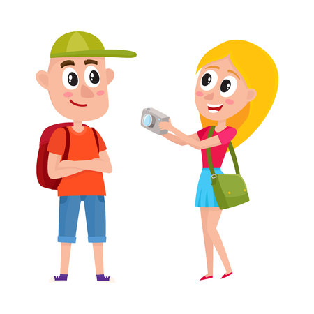 Tourist couple with bags taking picture Illustration
