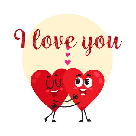 私はあなた - グリーティング カード、ポストカード、2 つハグ心文字、漫画のベクトル図のバナー デザインが大好きです。バレンタインデー挨拶ハ  イラスト・ベクター素材