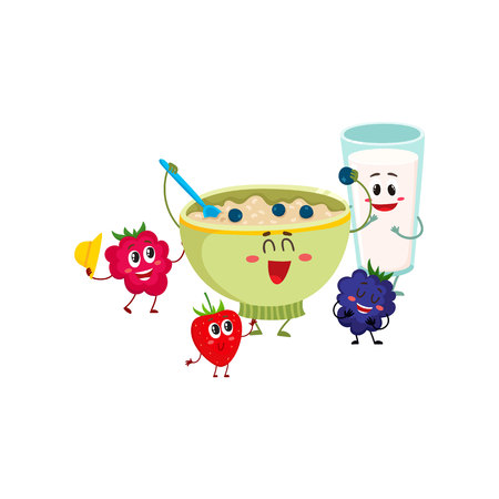 Funny smiling bowl of oatmeal porridge and raspberry, blackberry berry characters, cartoon vector illustration isolated on white background.