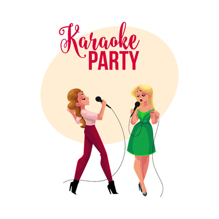 Karaoke party, contest banner, poster, postcard design with two girls, women singing together, cartoon vector illustration on white background.