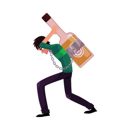 Homme enchaîné à la bouteille d'alcool sur son dos Banque d'images - 79938169