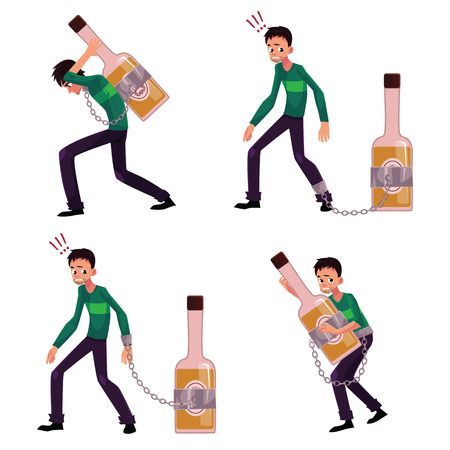 Young man chained to bottle of liquor, booze, carrying it, holding tight, alcohol dependence concept, set of cartoon vector illustrations isolated on white background.