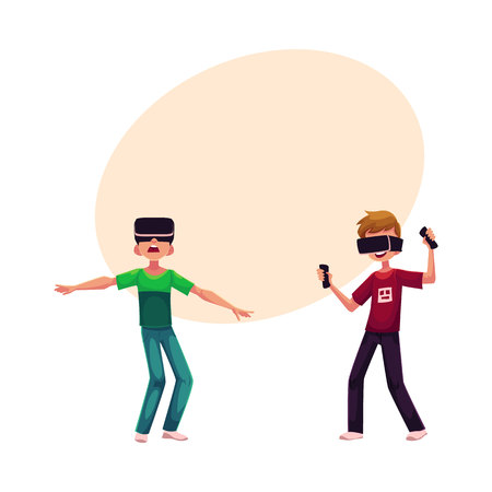 simulators: Two boys wearing virtual reality headsets, simulators, cartoon vector illustration with space for text.