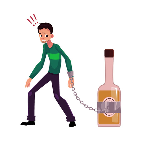 Unshaven man standing with hand chained to bottle of liquor, alcohol dependence, cartoon vector illustration isolated on white background.