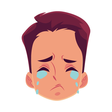 Cara de hombre joven, expresión facial llorando, ilustraciones de vectores de dibujos animados aislado sobre fondo blanco. Foto de archivo - 79891705