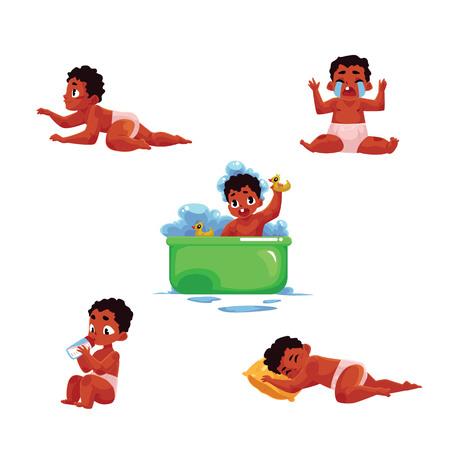 작은 흑인, 아프리카 계 미국인 아기 아이, 유아 일일 루틴 - 먹고, 자, 목욕, 울 어, 크롤링, 흰색 배경에 고립 된 만화 벡터 일러스트 레이 션.