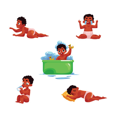 Little black, African American baby kid, infant daily routine - eat, sleep, take bath, cry, crawl, cartoon vector illustration isolated on white background.