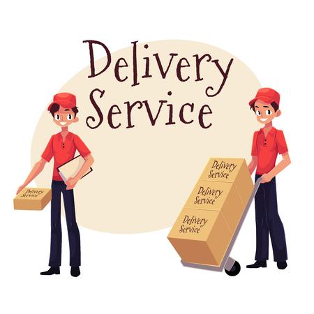 De banner van de leveringsdienst met het pakket van de arbeidersholding, die dolly, handkar met dozen, beeldverhaal vectordieillustratie duwen op witte achtergrond wordt geïsoleerd.