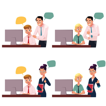 Boss managing employee working on computer, approving, disapproving gesture, cartoon vector illustration isolated on white background. Boss supervising employee working in office with speech bubbles