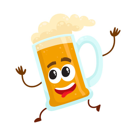 Cute and funny running lager beer mug character, mascot