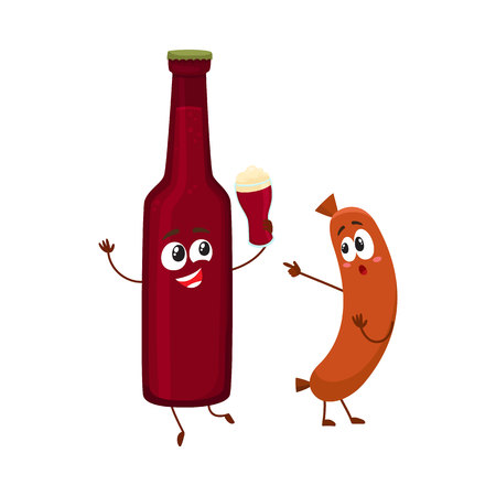 Funny beer bottle and frankfurter sausage characters having fun together, cartoon vector illustration isolated on white background. Funny smiling beer bottle making toast and sausage poiting to it Illustration