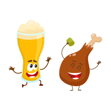 Funny tall beer glass and fried chicken leg characters having fun, cartoon vector illustration isolated on white background. Funny smiling beer glass and chicken leg, drumstick having party together