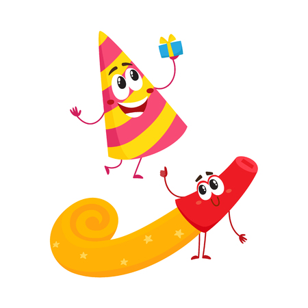 Smiling birthday party characters - spriped hat and horn, blower,noise maker, cartoon vector illustration isolated on white background. Funny birthday party hat and horn, blower characters, mascots