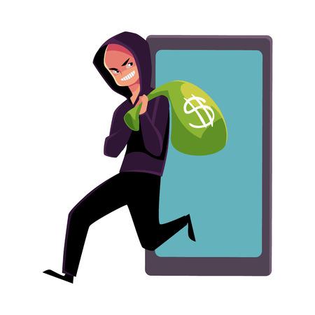 Hacker stealing money, cybercrime, Internet fraud, online scam, cartoon vector illustration isolated on white background. Cybercrime, Internet fraud illustrated as hacker running away with money bag Çizim