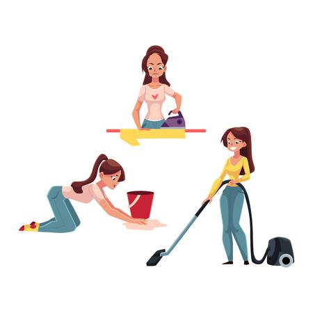 白い背景の上に若い女性、主婦の家事 - アイロン リネン、洗濯、クリーニング床、漫画のベクトル図真空が分離されました。女性は、彼女の家の掃